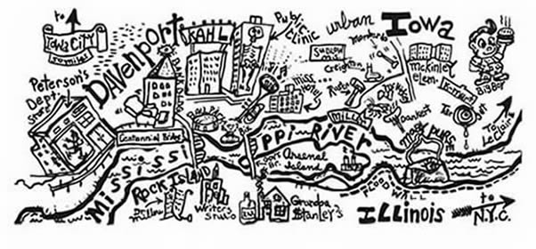 A hand-drawn map of Davenport, Iowa.